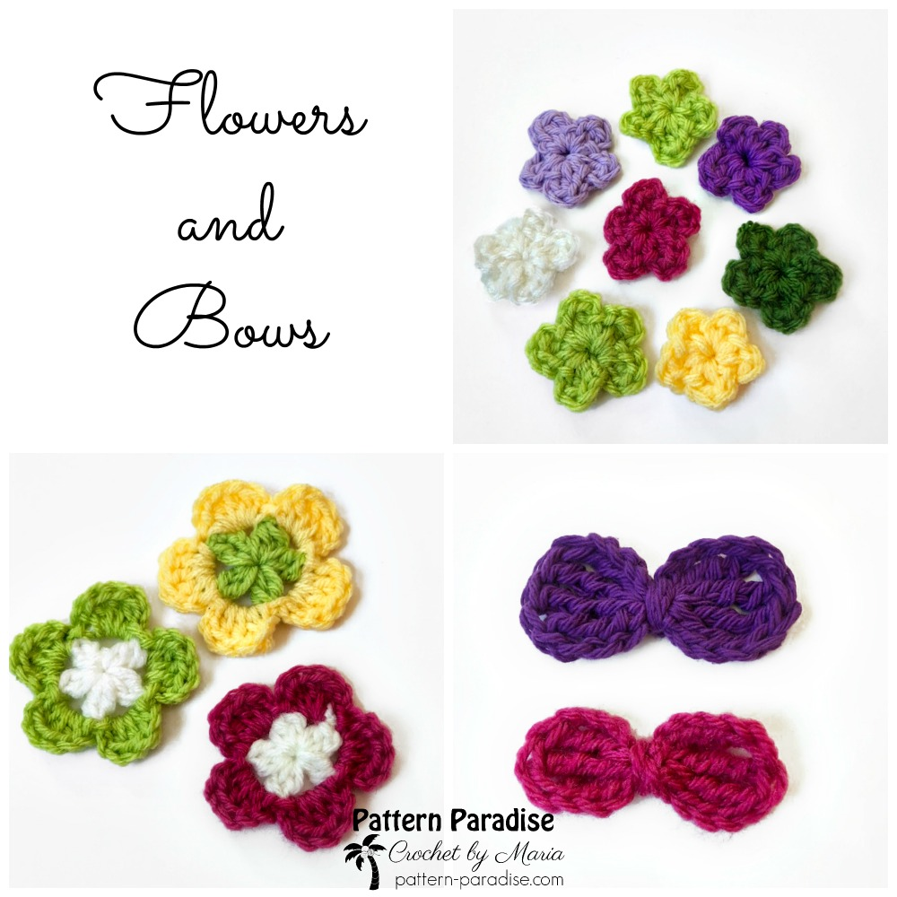 Free Crochet Pattern Flowers And Bows Pattern Paradise