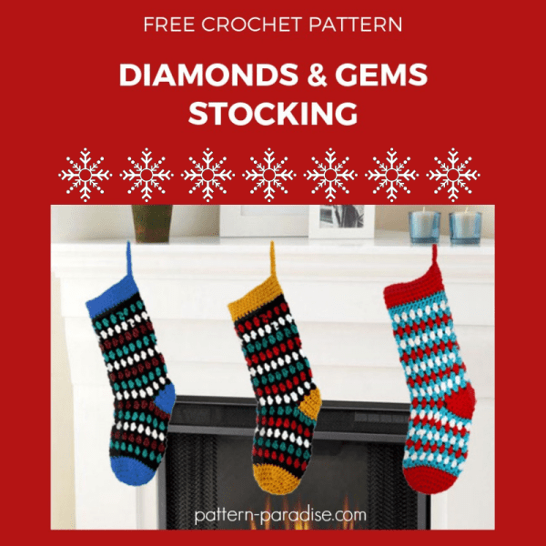 Free Crochet Pattern: Diamonds & Gems Stockings