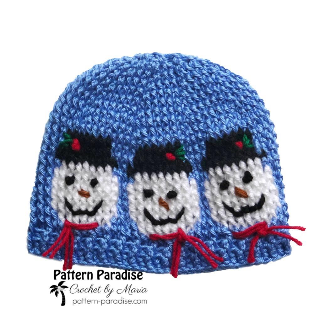 Free Crochet Pattern Snowmen Hat Pattern Paradise