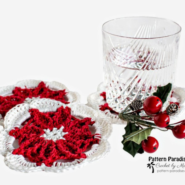 Free Crochet Pattern: Poinsettia Coasters
