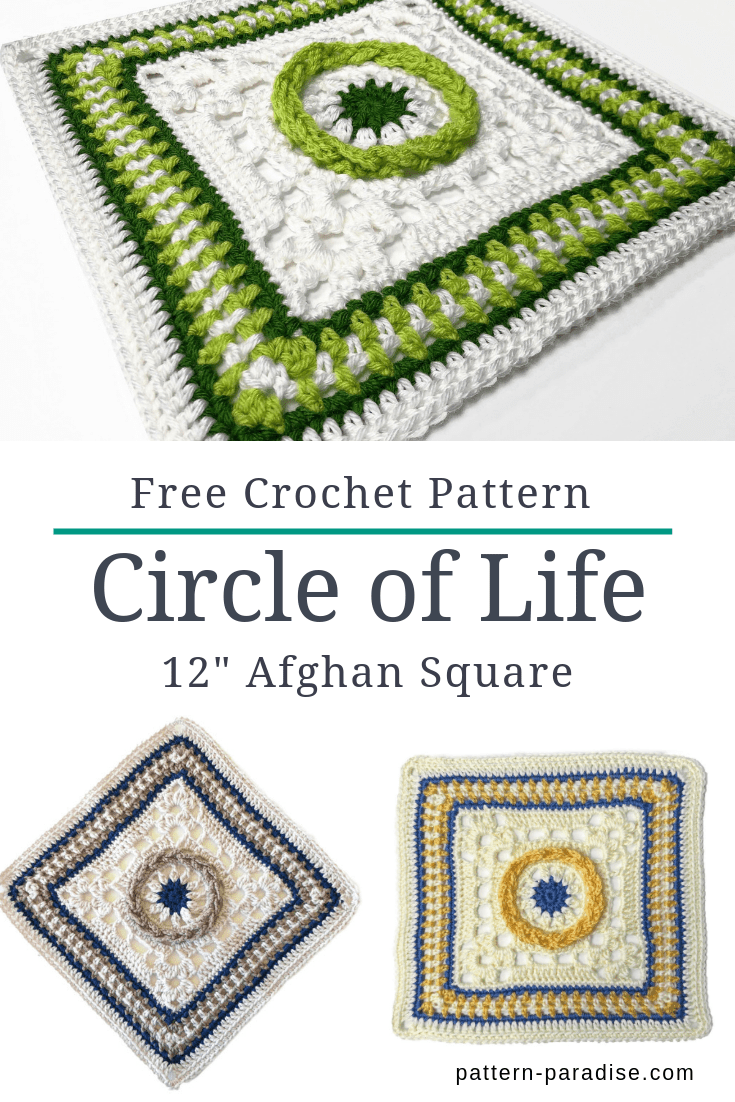 "Circle of Life 12"" Afghan Square"