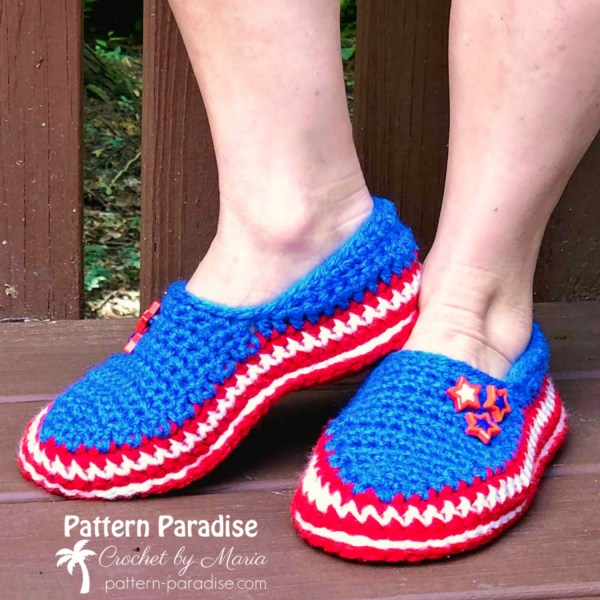 Free Crochet Pattern: Stars and Stripes Slippers