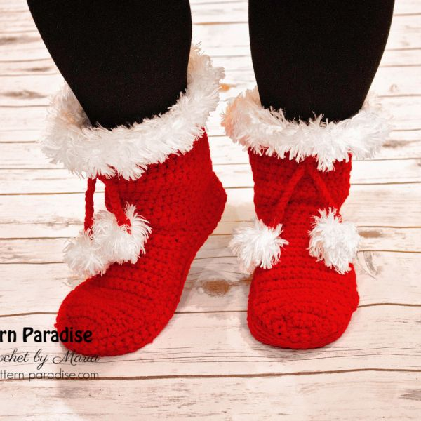 Free Crochet Pattern: Santa Slippers