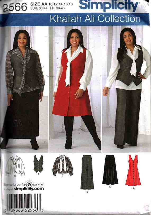 Simplicity 2566 Pants Skirt Blouse With Tie And Jumper Or Vest