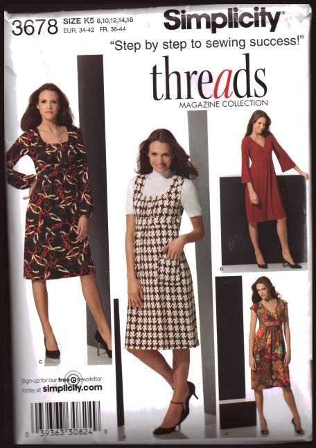 Simplicity 3678 Knit Dresses With Bodice And Sleeve Variations Size