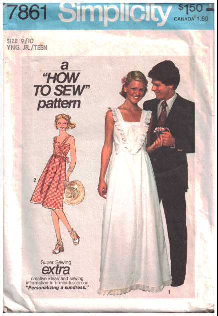 Simplicity 7861 Dress in two lengths Size: 9/10J Uncut Sewing Pattern