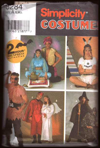 Simplicity 8284 Adult Costumes - Devil, Angel Pirate, Indian, Belly ...