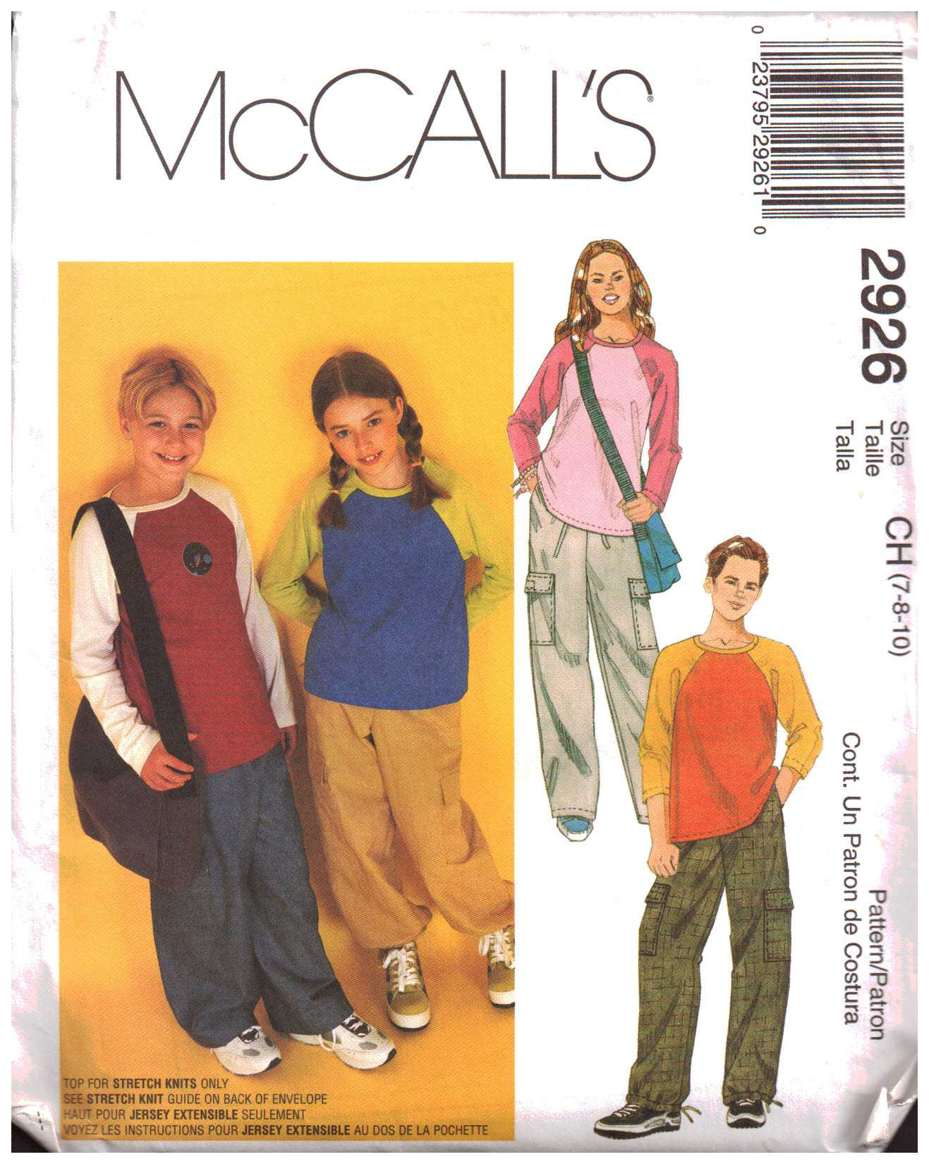 a86f44efdc1f3 McCall's 2926 Boys, Girls Top, Pull-on Pants, Bag Size: CH 7-8-10 Uncut Sewing  Pattern