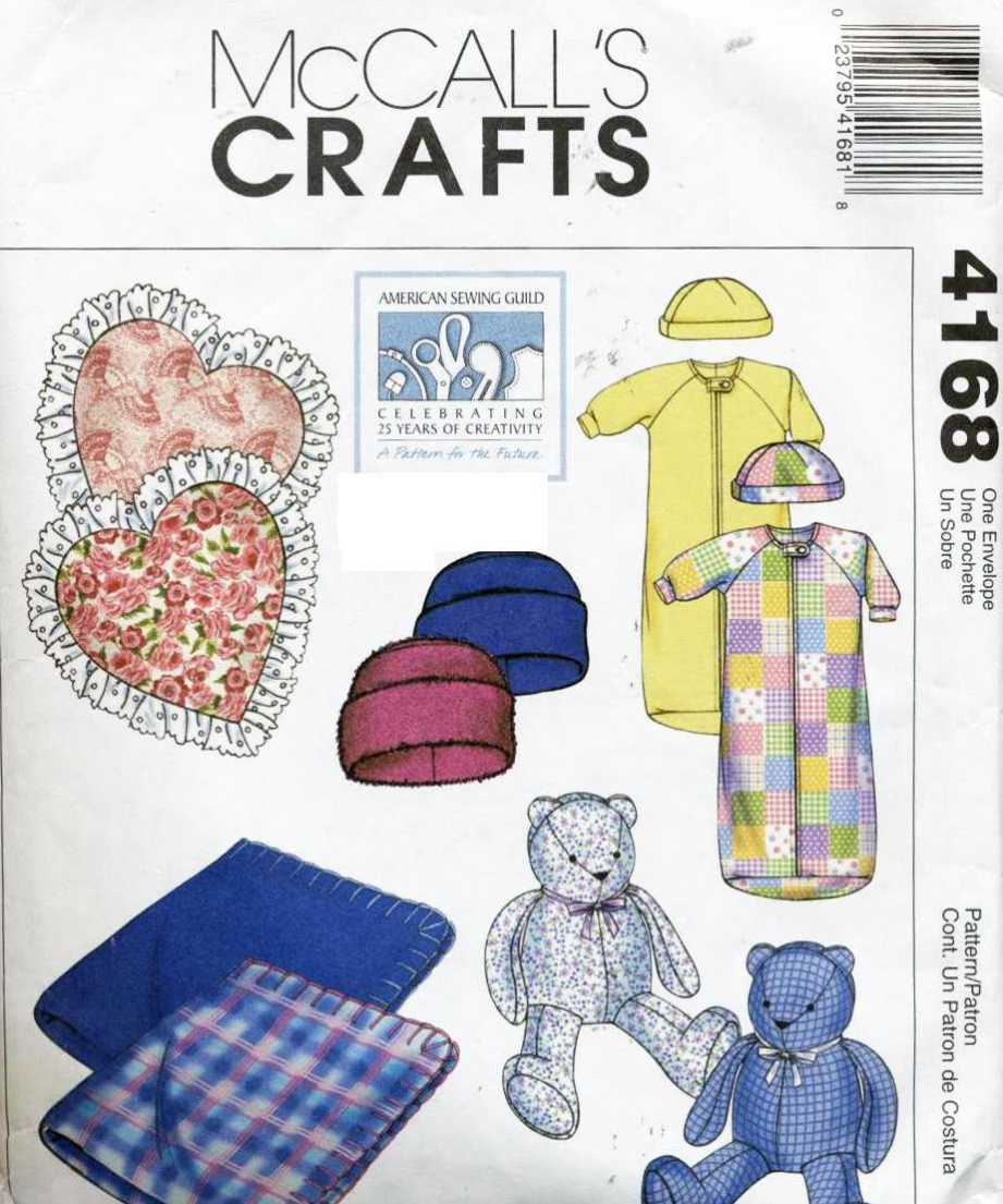 McCall\'s 4168 Baby Blanket, Pillow, Bear, Bunting, Cap, Hat Size ...