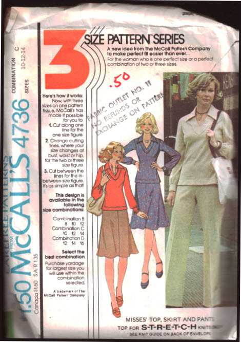McCall\'s 4736 Top, Skirt, Pants Size: C 10-12-14 Used Sewing Pattern