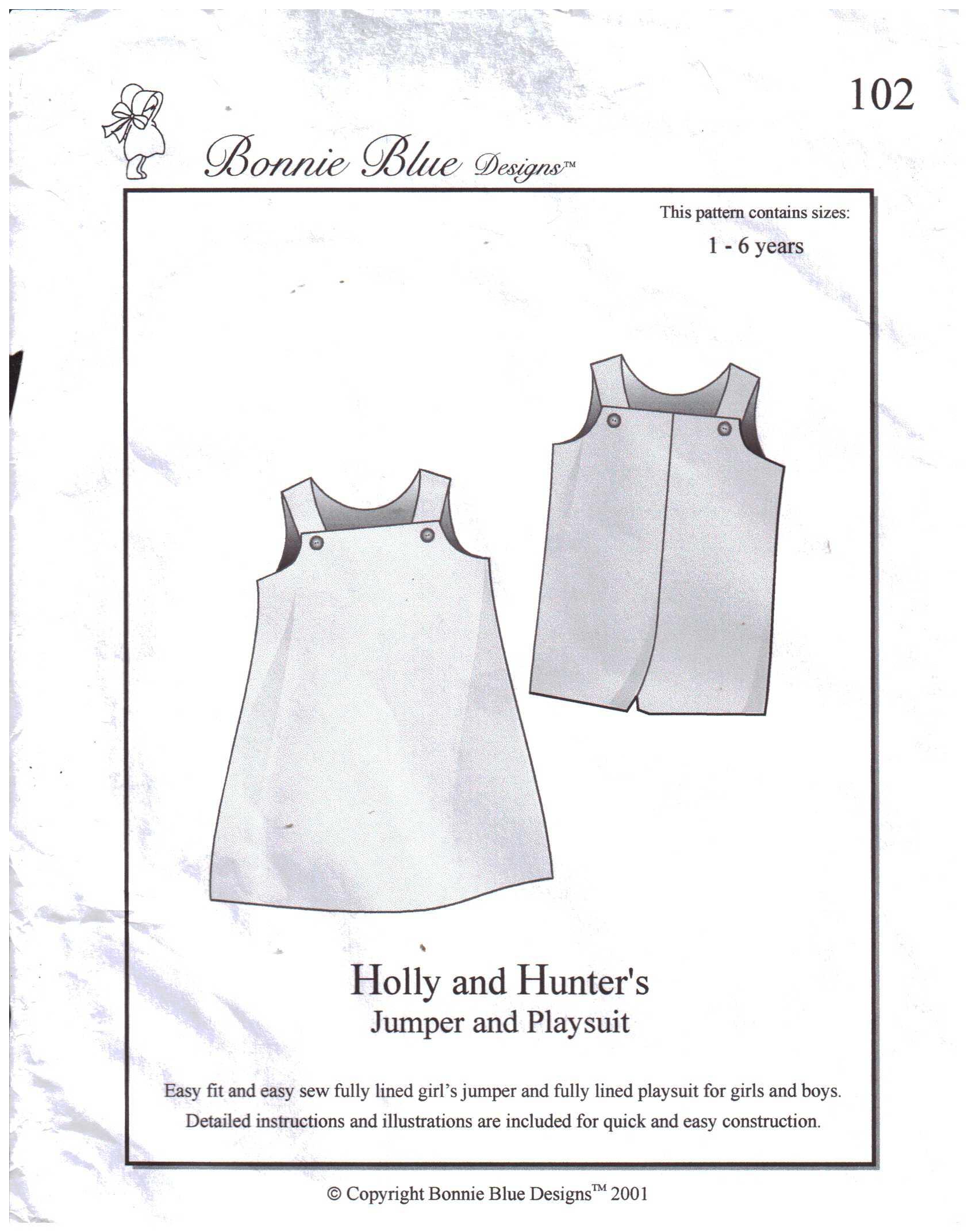 Bonnie Blue Designs 102 Holly & Hunter\'s Jumper & Playsuit Size: 1 ...
