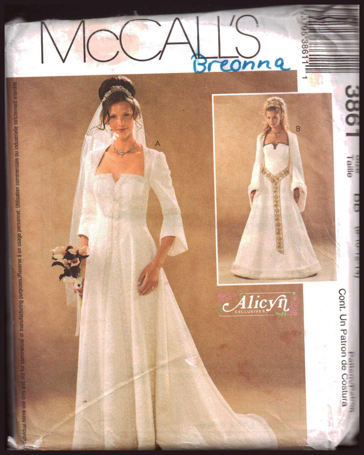 McCall\'s 3861 Wedding Dress Size: BB 8-10-12-14 Uncut Sewing Pattern