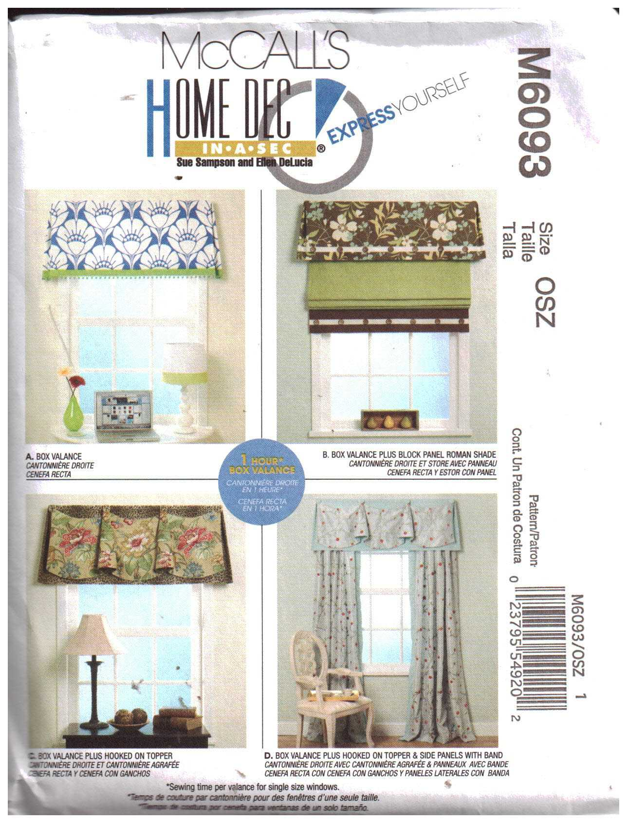 mccall s m6093 window treatments size one used sewing pattern