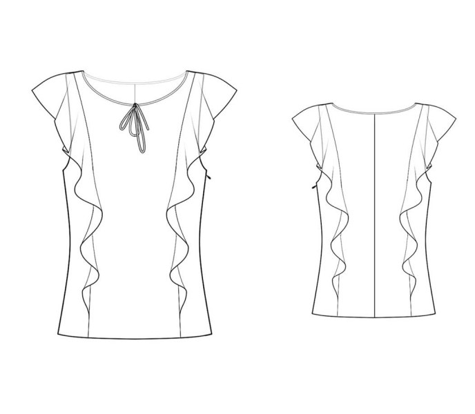 Boostrapfashion 4261 blouse line drawing.