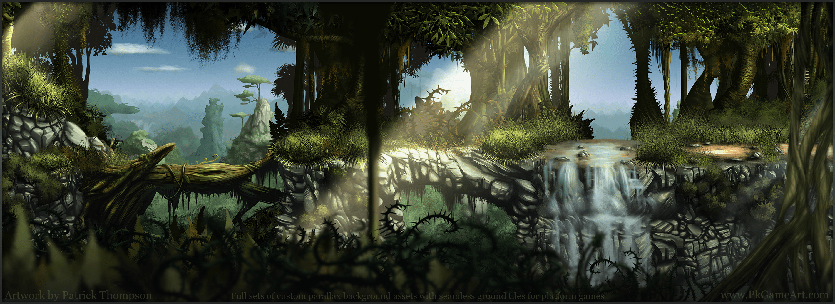 BG s   Environments   PK Game Art   Illustration game background parallax forest jungle seamless tiles bridges platform art  illustration pkgameart