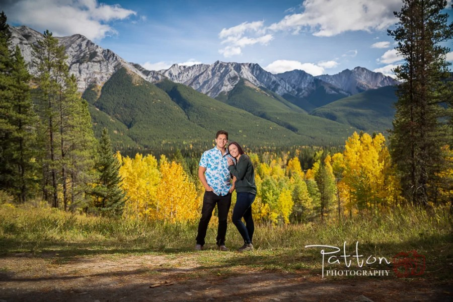 Kananaskis engagement session with trees and mountains
