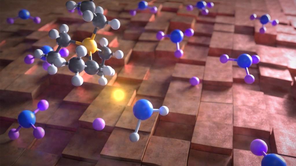 Scientific animation still depicting a phosphonium molecule donating a hydrogen to produce ammonia.