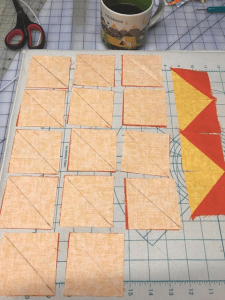 Half Square Triangles all marked
