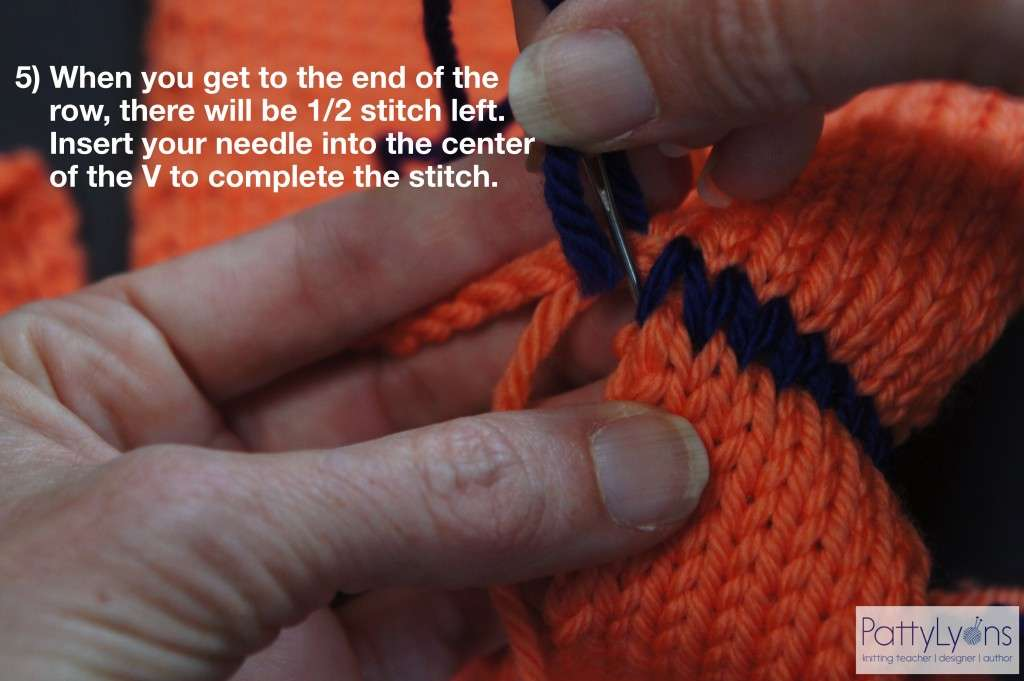 Seaming Shoulder in Knitting - Finish Row