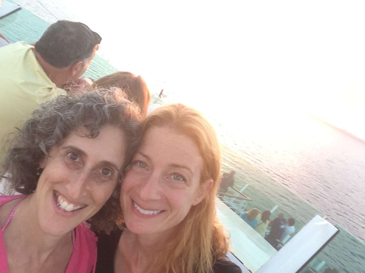 Enjoying our first sunset with my pal Melissa. Nautical Knitting Cruise