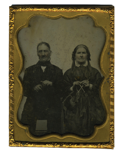 """Ambrotype, ca. 1860, of a married couple. The wife is pictured with her knitting to show she is a woman of character and virtue."""