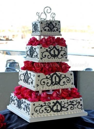 Beautiful black  white and red wedding cakes wedding cake white black red flowers 4 tiers