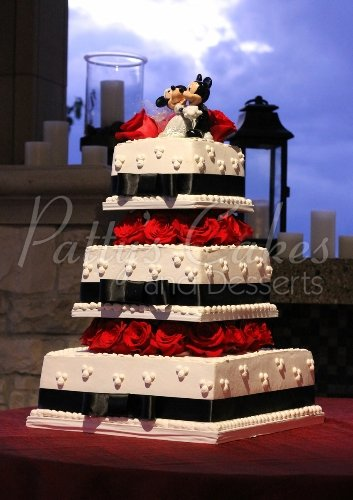 4 tier wedding cakes Archives   Patty s Cakes and Desserts black white red square wedding cake mickey