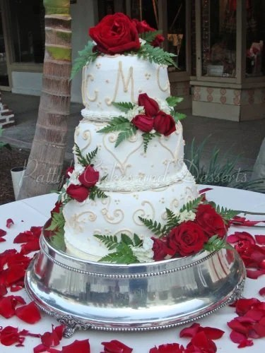 Wedding cakes with roses Archives   Patty s Cakes and Desserts wedding cake initials red flowers silver base