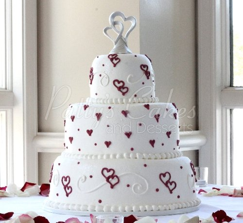 Red rose wedding cakes Archives   Patty s Cakes and Desserts wedding cake red white hearts 3 tier round