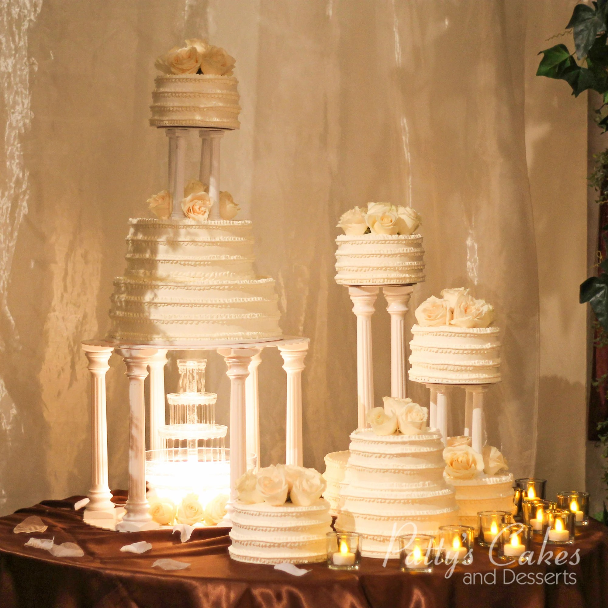 Photo Of A Wedding Cake Fountain White Pattys Cakes And