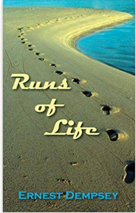 """The cover of """"Runs of Life"""" is a photograph of a single set of footprints in the sand beside a body of water. The coastline twists and bends, with the footprints disappearing in the distance where the sand meets the bright blue water."""