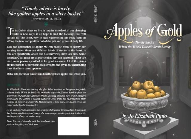 """The cover of """"Apples of Gold"""", showing an illustrated image of golden apples piled high in an ornate silver bowl on a pedestal. The apples are illuminated from above by a silvery white light, casting the cavernous room beyond into shadow. Framed wall-hangings and statues are visible in the space behind the pedestal."""