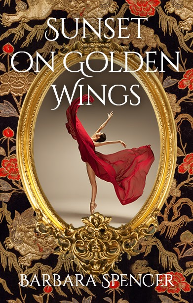 """The cover of """"Sunset on Golden Wings"""" is a textured tapestry of red and gold flowers, branches, and leaves on a black background. In the center, a gilded frame surrounds a photo of a woman dancing. The woman wears golden ballet shoes and a red dress. She appears fluidly in motion against a washed-out beige background, standing on her toes with her arms in the air with the gauzy material of her long dress swirling around her."""