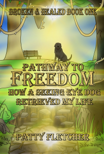 """The cover of """"Pathway to Freedom"""".  A garden with rocks and pebbles, surrounded by grass and trees. To the left, a bench sits below a tree with a seated dog silhouetted on the grass in front of it. An ethereal glow of gold and green shines through the middle of the picture with the title of the book written in fantasy style lettering in darker gold and with black shadowing."""