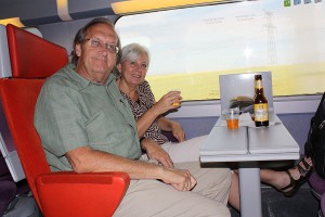 Laurel and Randy traveling to Brugge via TGV