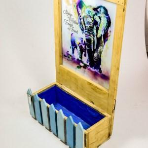 Creatively Fenced Box Planter With Elephant Potrait