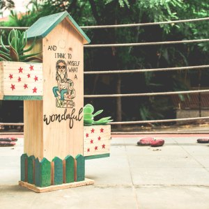 Beautifully Fenced Bird House With Two Side Planter(Wonderful World)