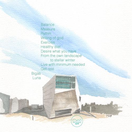 BIGAS LUNA decálogo 10 rules DECALOGUE PAUKF PAULA TERUEL arquitectura architecture watercolor building render oma rem koolhaas casa da musica porto ilustración illustrazione