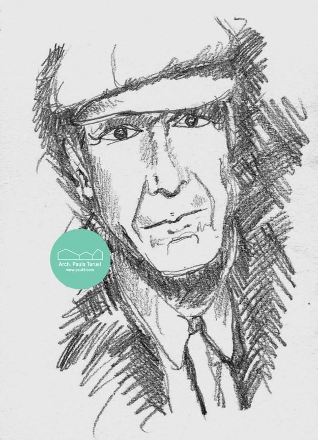 retrato LEONARD COHEN PORTRAIT ILLUSTRATION BY PAUKF PAULA TERUEL DRAWING HANDDRAWING DIBUJO RETRATO ILUSTRACION