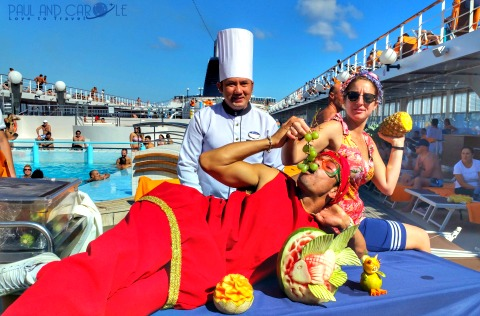 msc opera cruise ship fruit carving demonstrations team