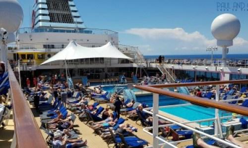 Busy pool deck on a sea day Marella Explorer 2 Cruise Ship Review #cruise #ChooseCruise #cruising #marella #MarellaExplorer2 #TUI #explorer #review
