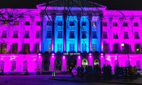 the Queens hotel all lit up for lightup Cheltenham #queenshotelcheltenham #hotel #cotswolds