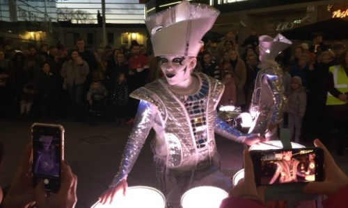 street theatre group Spark wow the crowds at light up Cheltenham.#spark #lightupcheltenham #worldbeatermusic #visitcheltenham