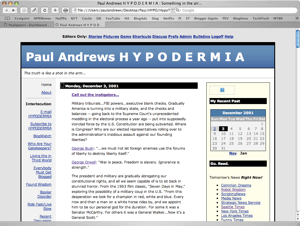 My first blog was called Hypodermia