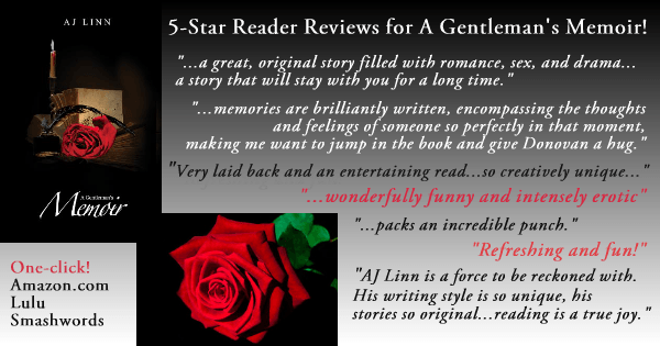 Photo edit with quotes from 5-star reviews of A Gentleman's Memoir by author AJ Linn