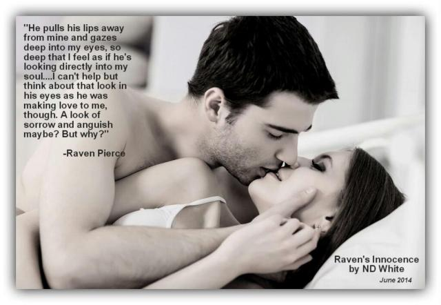 Photo depicting a couple cuddling in bed, with a quote from Raven's Innocence, a romantic novel by indie author Nicky D White