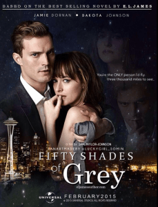 Poster advertising the Fifty Shades of Grey movie with Jamie Dornan and Dakota Johnson