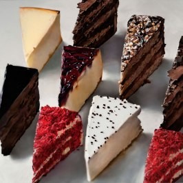 Multiple slices of various types of layer cakes and cheesecakes