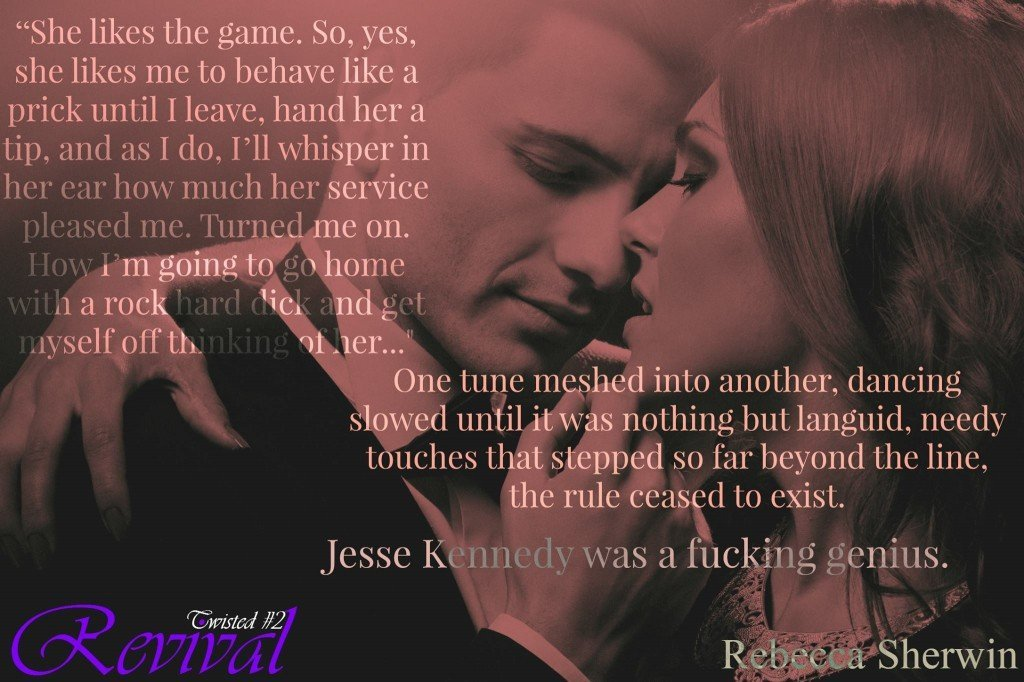 A photo of a photo of an affectionate couple, overlaid with a quote from Revival, by Rebecca Sherwin