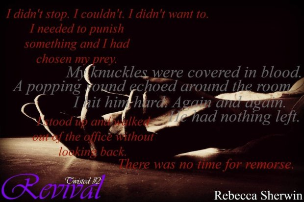 Photo of a man's hand, open, overlaid with a quote by Curtis Mason, a character in the erotic romance-suspense  novel, Revival, by Rebecca Sherwin